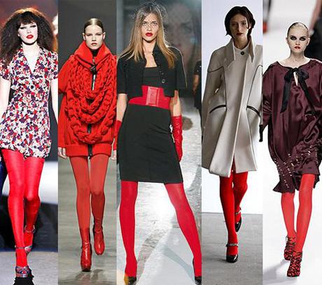 Модные тенденции осени 2008: красные колготки.  3 балла.